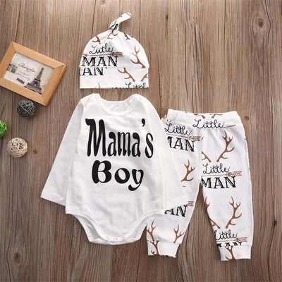 Autumn Baby Boy Girl Clothes Long Sleeve Romper pants hat Casual Suit Baby Clothing Set Infant Clothing