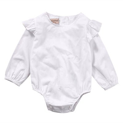 Newborn Toddler Infant Baby Girl Long Sleeve Pure Color Romper Lotus sleeve Jumpsuit Outfit Sunsuits Clothes
