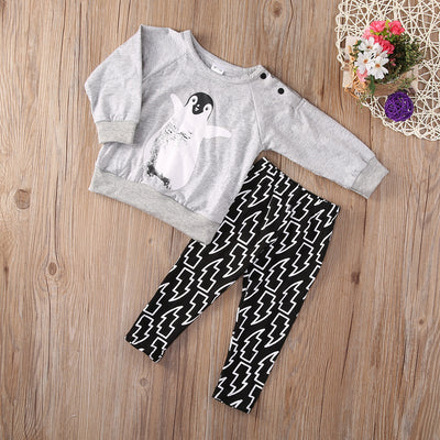 New arrival girl & boys clothes set Toddler Baby Boy Kids Penguin Long Sleeve Tops Pants Outfits Set Tracksuit