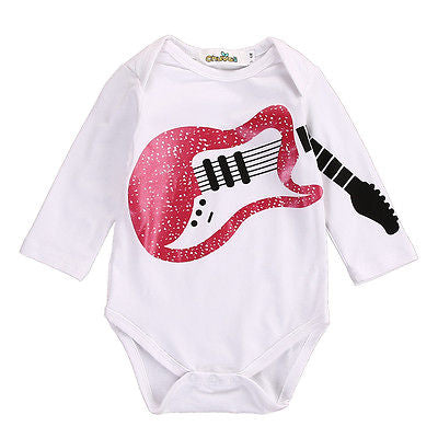 Baby Girl Boy Guitar Cotton Romper Long Sleeve Note Jumpsuit Outfits