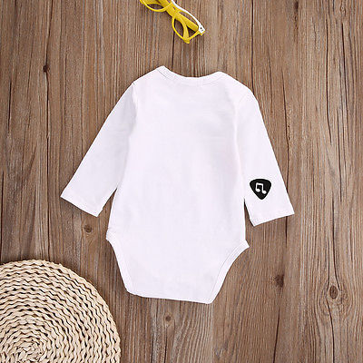 Autumn Baby Girl Boy Guitar Cotton Romper Long Sleeve Note Jumpsuit Outfits One-piece