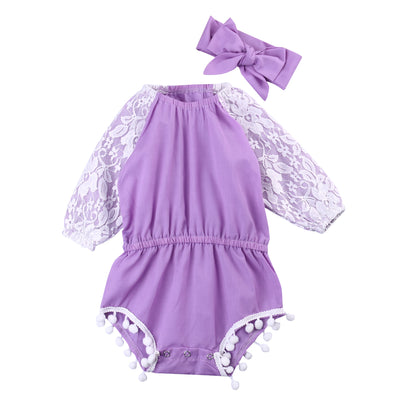 2Pcs/Set ! Baby Infant Toddler Newborn Girls Lace Short Sleeve Romper Tassel Outfit Jumpsuit with Headband Sun-suit Clothing
