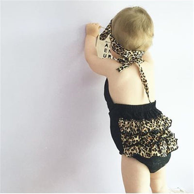 2pcs/Set Newborn Infant Baby Girls Leopard Romper Sleeveless Belt Jumpsuit Outfits Sun-suit Clothes Sets