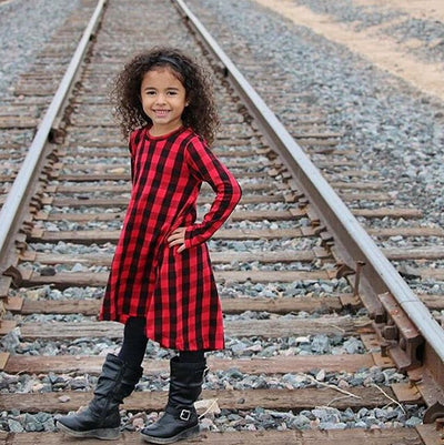 Spring Autumn Casual Baby Kids Girls Long Sleeve Plaid Cotton Dress Checked Party Princess Formal Dresses 1-6Y