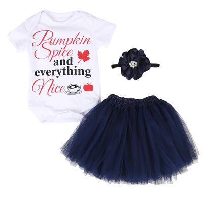 3Pcs baby Girls clothing Set Toddler Baby Girl Short Sleeve Romper Tops Shirts+Tutu Skirts Headband 3pcs Outfits Set Dress