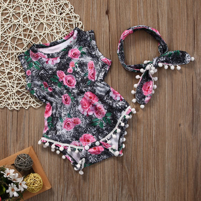2Pcs/Set ! Adorable Baby Girls Floral Tassel One-pieces Romper Jumpsuit Sunsuit Outfits Clothes