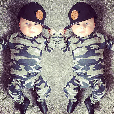 2pcs new baby clothing set Toddler Infant Camouflage Baby Boy Girl Clothes T-shirt Tops+Pants Outfits Set