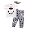 3Pcs/Clothing Set Lovely Toddler Newborn Baby Boy Girl Penguins Outfits Clothes T Shirt+Pants+ Hat 3pcs Set