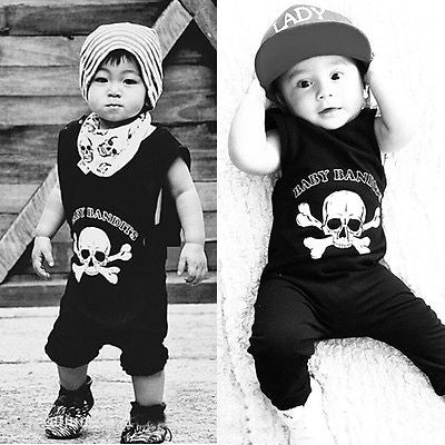 Skull Printed Romper Newborn Baby Rompers Cotton Kids Clothing Black Boys Girls Clothes Children Clothing Jumpsuit
