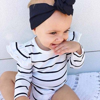 Newborn Kids Baby Girl Infant Long Sleeve Romper Black and white Striped Jumpsuit  Clothes Outfit