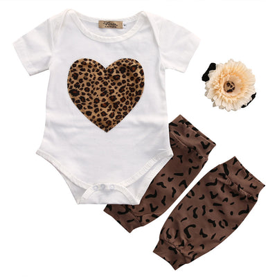 3pcs set Baby Girl Leopard Bodysuit Kids Newborn Infant Romper Outfits Clothing Set