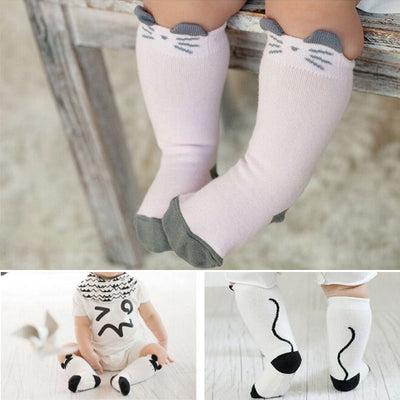 Pink and White Cute Baby Kids Toddlers Girls Knee High Socks Tights Leg Warmer Stockings