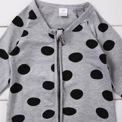 Unisex Newborn Baby Boys Girls Polka Dots Long Sleeve Romper Zipper Jumpsuit Outfits Set Clothes