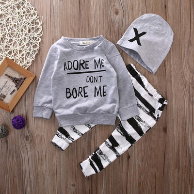Kids boys Autumn clothes baby clothing sets Newborn Baby Girl Boy Long Sleeve T shirt+ zebra Pant Hat 3 pcs Outfits Set
