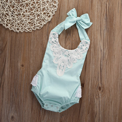 4Colour ! Baby Girl Spaghetti straps Halter Sky Blue lace Romper Backless Jumpsuit Lace Sunsuit Outfits One-pieces for Christmas