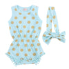 Infant Baby Girl Polka Dot Tassel Romper Jumpsuit Outfits Set 0-24M Baby Costumes Set with bow headband