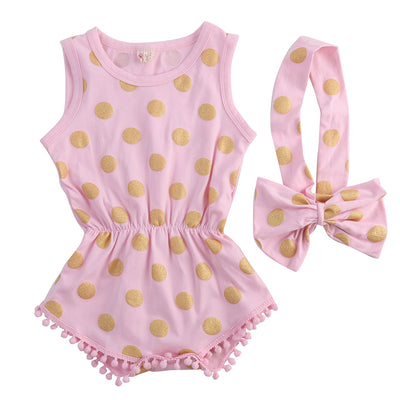 New Infant Baby Girl Polka Dot Tassel Romper Jumpsuit Outfits Set 0-24M Baby Costumes Set with bow headband