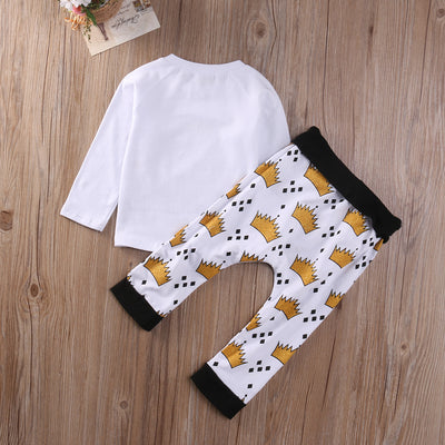 Autumn New baby boy clothes 2Pcs Newborn Kids Baby Boy Girl WILD T-shirt Tops+Long Pants Outfits Clothes Set