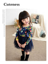 Autumn New Flower Print Dress For Girls Children Kids Autumn Cotton Lace Tutu Girl Floral Dress For Party Warm Long Sleeve