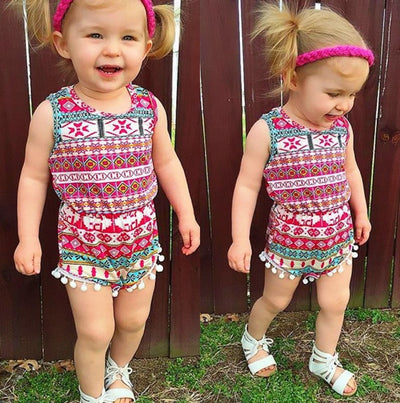 2pcs/Set !Summer Adorable Baby Girls Classic National Style Romper One-pieces Sun-suit Clothes Set 0-2T