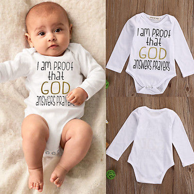 Newborn Kids Infant Baby Boys Girls Long Sleeve Romper Letter printed Jumpsuit Outfits Clothes