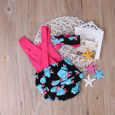 2Pcs/Set! Newborn Toddler Baby Girl Floral Sleeveless Romper Headband Backless Jumpsuit Outfit Sun-suit Clothes