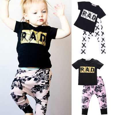 Baby Boy clothes 2pcs Short Sleeve T-shirt Tops Pants Outfit Clothing Set Suit Letter Print Top