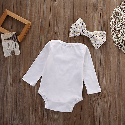 Newborn 2pcs suit baby girl clothes Infant Baby Girl Boy White Romper Jumpsuit Headband Outfit Set Clothes