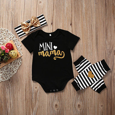 Baby Girls Clothing Set Newborn Infant Kids Baby Girl Romper Leg Warmer Headband Clothes Outfit Set