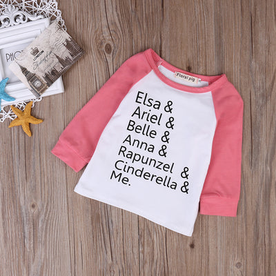 Fashion Kids Baby Girls T-shirt Long Sleeve Letter Printed Tops Casual Cotton Outfits Clothes