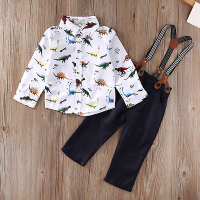 kids Baby clothes Kids Baby Boys Long Sleeve Shirt Tops+Braces+Pants Clothes Outfit Set