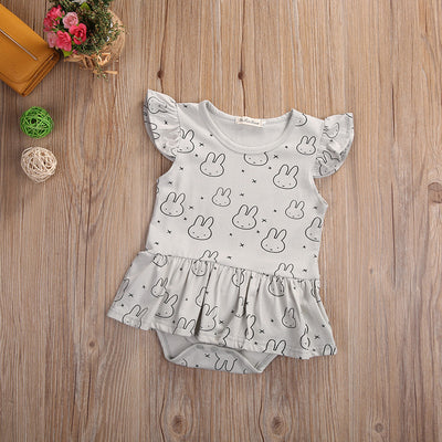 Newborn Infant Baby Girls rabbit Flying sleeve clothes Tutu Romper Dress Jumpsuit Outfits Clothes