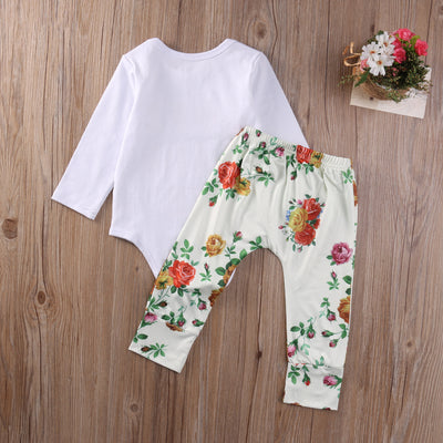 Baby Girl Clothes Long Sleeve Letter Bodysuit & Floral Pants Set Baby Clothing Newborn Girls Clothes
