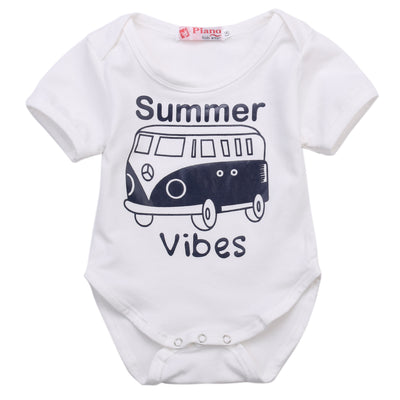 Baby Girl Boy Clothes Summer Short Sleeve White Cotton Bus Printed Romper Jumpsuit Outfits