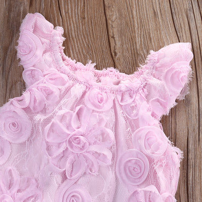 Summer 3D Lace Flower Kids Baby Girl Romper Lace Jumpsuit Sunsuit Outfits Costume