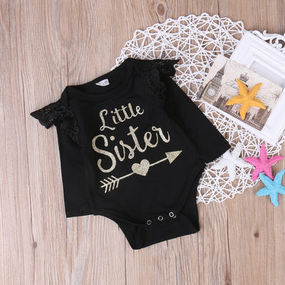 Newborn Infant Kid Baby Girl Long Sleeve Lace Romper little sister Printed Jumpsuit Outfits Sunsuit Clothes