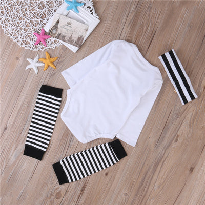 3Pcs/Set Newborn Infant Baby Girls Hug Life Tops Romper+ Leg Warmer Headband Outfits Set
