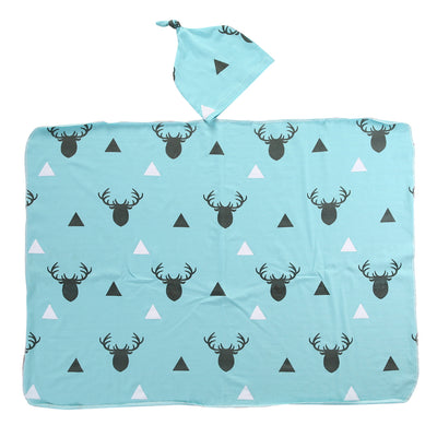 2Pcs/Set ! Newborn Infant Baby Boy Deer Swaddle Blanket +Hat Boy Coming Home Cotton Bath Towel