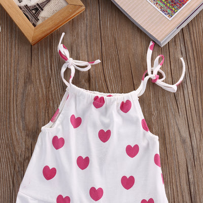 Newborn Baby Girl Infant Toddler Spaghetti straps Bodysuits Jumper Hearts Romper Jumpsuit Clothes