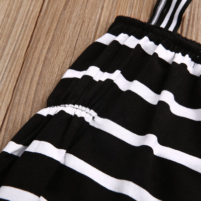 Summer Newborn Infant Baby Girls Sleeveless Romper Striped Jumpsuit Outfits Sunsuits Set Clothes