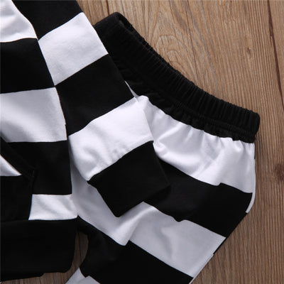 Autumn Winter Newborn Toddler Baby Boys Girls Hoodie Striped Long Sleeve Shirt Top Pants Leggings 2pcs Outfits Set