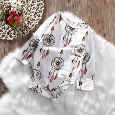 Newborn Baby Boy Girl Cotton Romper Long Sleeve Colorful wind Jumpsuit Clothes Outfit