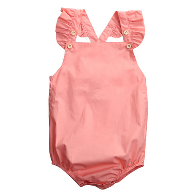 Summer Newborn Baby Girl Romper Clothes Summer Ruffled Sleeve Solid Babies Rompers Toddler Kids Jumpsuit Outfits Sunsuit