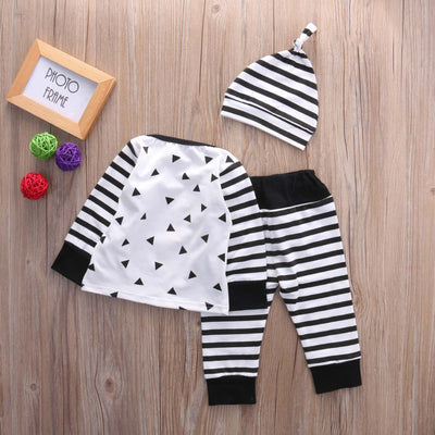 Baby boy clothes newborn Baby Kids Boy Girl Long Sleeve Tops+Pants+Hat baby clothing sets