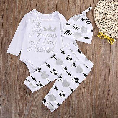 Autumn baby boy clothing set  Long Sleeve Romper arrow Pants Hat suit baby boy clothing sets infant clothing
