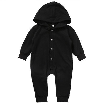 Newborn Baby Long Sleeve Cotton Hooded Jumpsuit