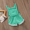 Baby National Clothes Girls Sleeveless Tassels Romper Backless Jumpsuit Outfits Sunsuit One-Piece Clothes Jumpsuits fit 0-4T