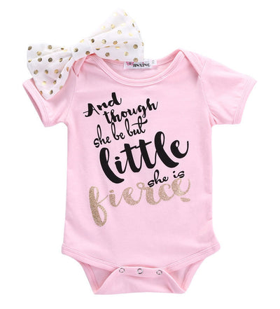 Newborn Toddler Baby Girls Pink bow-knot Romper Letter Printed Short Sleeve Baby Rompers Jumpsuit Clothes Set