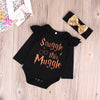 Baby girls clothing set Xmas born Baby Boys Girls Long Sleeve Romper Jumpsuit +Headband Clothes Outfits