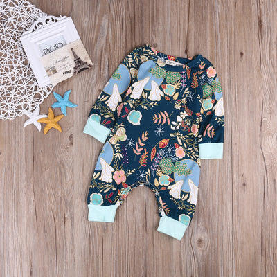 Newborn Baby Boys Girls Cotton Long Sleeve Romper Jumpsuit Outfits Sun suit Clothes
